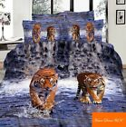 Double size Tigers on water print 3d duvet cover bedding set 100% cotton UK size