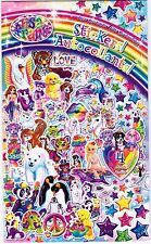 LISA FRANK 4 large Sheets Stickers! Unicorn Swan Rainbows Penguins Polar Bears