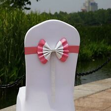 1/10 Stretch Chair Seat Cover Sash Bow Tie Wedding Party Banquet Ribbon Decor