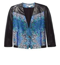 HELMUT LANG Medallion Boxy Jacquard Jacket Leather Sleeves Size 8 $995