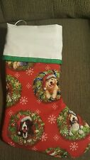 NEW!!!  Handmade Christmas Stocking, Dogs in wreaths, fully lined