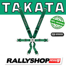 TAKATA Harness GREEN 6 POINT ORIGINAL FIA APPROVED  RACE Bolts - Snap ON (4870G)