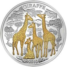 2010 Rwanda GIRAFFE 3 Oz 1000 Francs 4 Diamonds Silver Proof Coin /with Box!