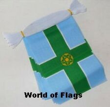 DERBYSHIRE FLAG BUNTING 9m 30 Polyester Fabric Party Flags Derby English County
