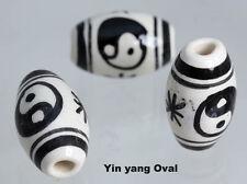 Ovalado Pintado A Mano Perlas-Ying Yang X 10 Para Joyería. Cabello oleograma de, Artesanía