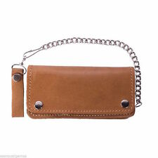 New Men's Wallet Biker Jean Chain BiFold Genuine Leather Zipper Brown