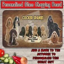 PERSONALISED COCKER SPANIEL GLASS CHOPPING BOARD DOG PET HOUSE WARMING GIFT