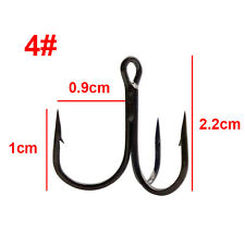 Lot 100pcs Fishing Hook Sharpened Treble Hooks 5 Size 2/4/6/8/10 Fishhook Tackle