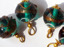 1358A Vintage Glass Drops Dangles Wedding Cake Lamp Beads Art Deco Foil Pendants
