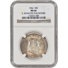 1962 US Franklin Silver Half Dollar 50C - NGC MS66 - S. Schultze Collection