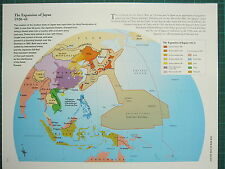 WW2 WWII MAP ~ EXPANSION OF JAPAN 1920-41 JAPANESE EMPIRE COLONIAL POSSESSIONS