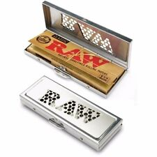 Raw Natural Rolling Papers Silver Metal 1 1/4 Shredder Case