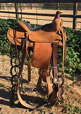 """15"""" Custom shop made HAL PEARCE Rope/Ranch saddle in great used shape"""