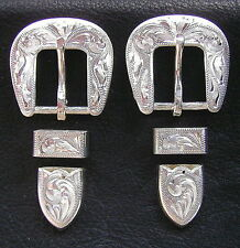 "2 - 5/8"" Hand Engraved Silver Plated Buckle Sets - Spur Straps Headstall      #5"