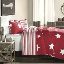 RED & WHITE STAR Twin Single QUILT SET : COTTON STRIPE COUNTRY CABIN BOYS BED