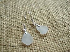 Scottish sea glass earrings, teardrop shaped earrings, sea glass jewelry, white