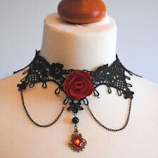 Gothic vittoriano pizzo girocollo con rosa rossa, ciondolo, catene, VAMPIRO, Gotico