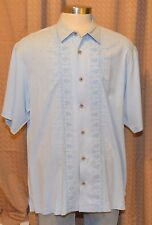 Tommy Bahama Short Sleeve Light Blue 100% Silk Embroidered Floral Shirt Mens XL