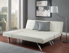 Sofa Sleeper Sectional Chaise Lounge WHITE Leather Bed Convertible Modern Couch