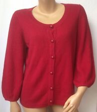TALBOTS Womens Size Large Holiday Cardigan Sweater Red Long Sleeve