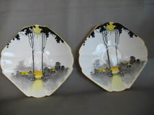 "2 SHELLEY Art Deco saucers ""Tall Trees & Sunset"". - ex. cond - C 1925-45, 13 cm."