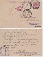 # GUALDO TADINO: CART. POSTALE  c.25 AL COMMISSARIO PREFETTIZIO DI NARNI  1922