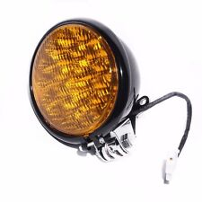 "Amber 5"" LED Motorcycle Headlight Cruiser Chopper Cafe Racer Old School Custom"