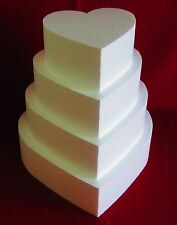 """New Foam Cake Dummy set 4 pc Heart 8"""" to 14"""" at 4"""" Thick EPS Foam"""