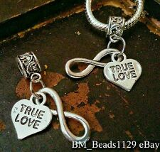 2PC True Love Heart Infinity Symbol European Double Pendant Dangle Beads Charms