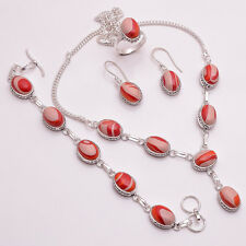925 Sterling Silver Overlay Ring Earrings Bracelet Necklace Set Jewelry PS101