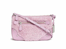 New Coach 36490 Shearling Leather Rhyder Pochette Crossbody Purse Marshmallow