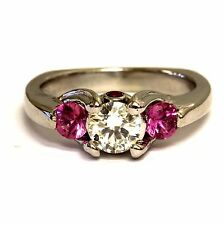14k white gold .50ct SI1 M GIA certified diamond created ruby ring 5.1g estate