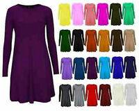 WOMENS LADIES PLAIN JERSEY TARTAN PRINT  LONG SLEEVE SWING PARTY DRESS TOP 8-26