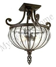 IRON GLASS Semi Flush Mount Chandelier NEIMAN MARCUS Light Ceiling Fixture