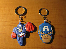 (2) CAPTAIN AMERICA Automobile Keychains Key Chain PVC Rubber FOB Ring MARVEL