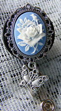 Rose Cameo Butterfly Charm ID Badge Name Tag  Key Card Holder Reel Lanyard BLUE