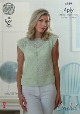 CROCHET PATTERN Ladies Sleeveless Lacy Top Giza Cotton 4ply King Cole 4789