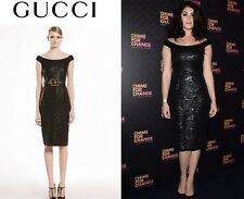 Gucci Black Lacquered Lace Shift Dress, Sz 42, Made In Italy $2990, LBD