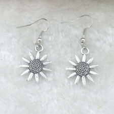 Free shipping Antique Silver Jewelry chrysanthemum earring @3