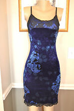 STUNNING SEXY BETSEY JOHNSON BLUE/PURPLE FLORAL PRINT/LACE VELVET DRESS ,small