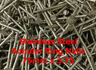 Stainless Steel Annular Ring Shank Nails 75mm x 3.75 Various Quantities
