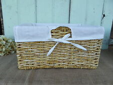 Small SEAGRASS LIGHT BROWN CORN LINED SHELF BASKET w/ White Lining Storage NEW