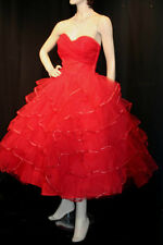 S~M FABULOUS BRIGHT RED NET VTG 50s RUFFLED TIERS STRAPLESS PARTY PROM DRESS