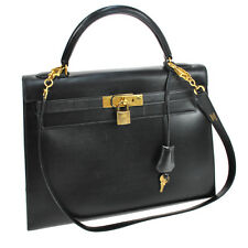 100% AUTHENTIC HERMES KELLY 32 2WAY HAND BAG BLACK BOX CALF FRANCE VTG M11521