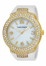 NEW Vernier VNR11073YGW Women's Analog Watch Oversized Gold Mother Of Pearl Dial