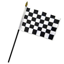 """Wholesale Lot of 6 Black and White Checkered Checker 4""""x6"""" Desk Table Stick Flag"""