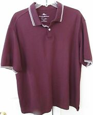 Tommy Bahama 100% Pima Cotton Mens Short Sleeve Polo Golf Shirt Large Drk Maroon