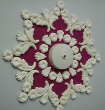 "Ceiling rose/design, plaster, home decor, handmade, 14"" diameter."
