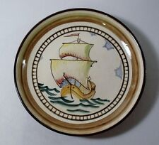 "Vintage Made in Finland REDWARE 9-1/4"" Decorative Deep Plate SAILING SHIP"