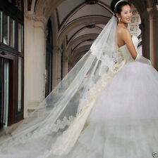 Ivory Bridal Wedding Veil 1 Tier Cathedral Length Lace Trim Handmade